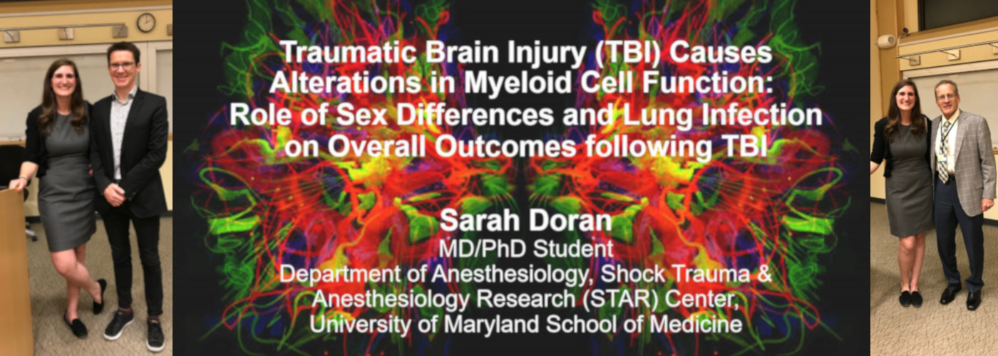 Picture of MSTP student Sarah Doran from her thesis defense for her PhD